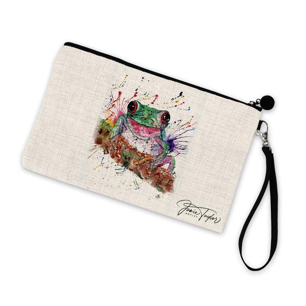 Chris the Frog Linen Cosmetic Bag