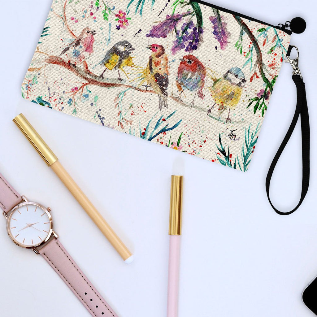 """Tree Friends"" Birds Linen Cosmetic Bag"