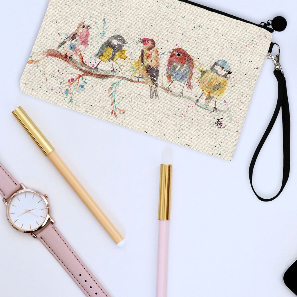 """Tree Friends"" Birds 2 Linen Cosmetic Bag"
