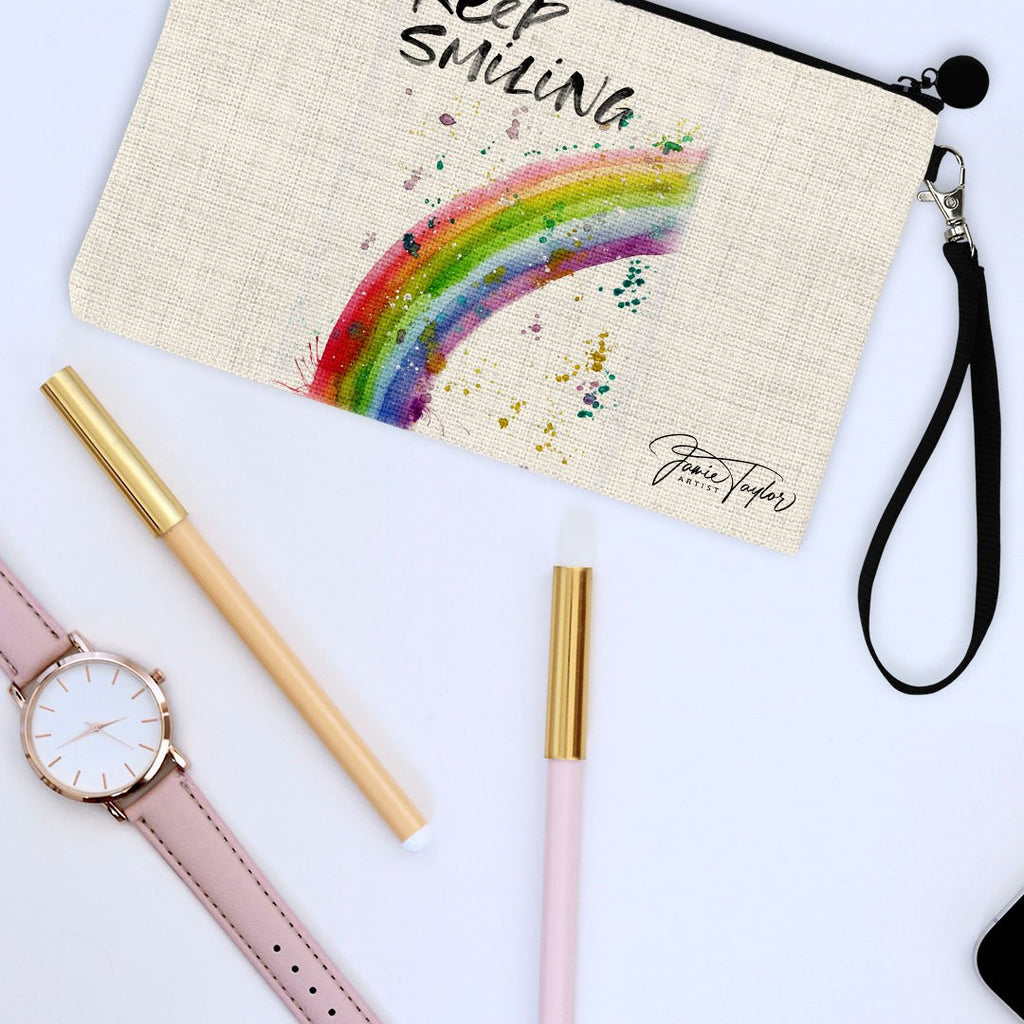"""Keep Smiling"" Rainbow Linen Cosmetic Bag"