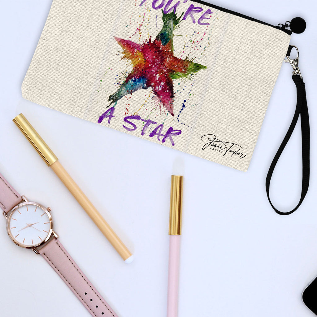 You're A Star! Linen Cosmetic Bag