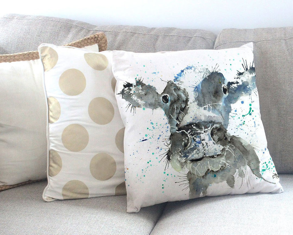 """Moo"" Cow Canvas Cushion Cover"