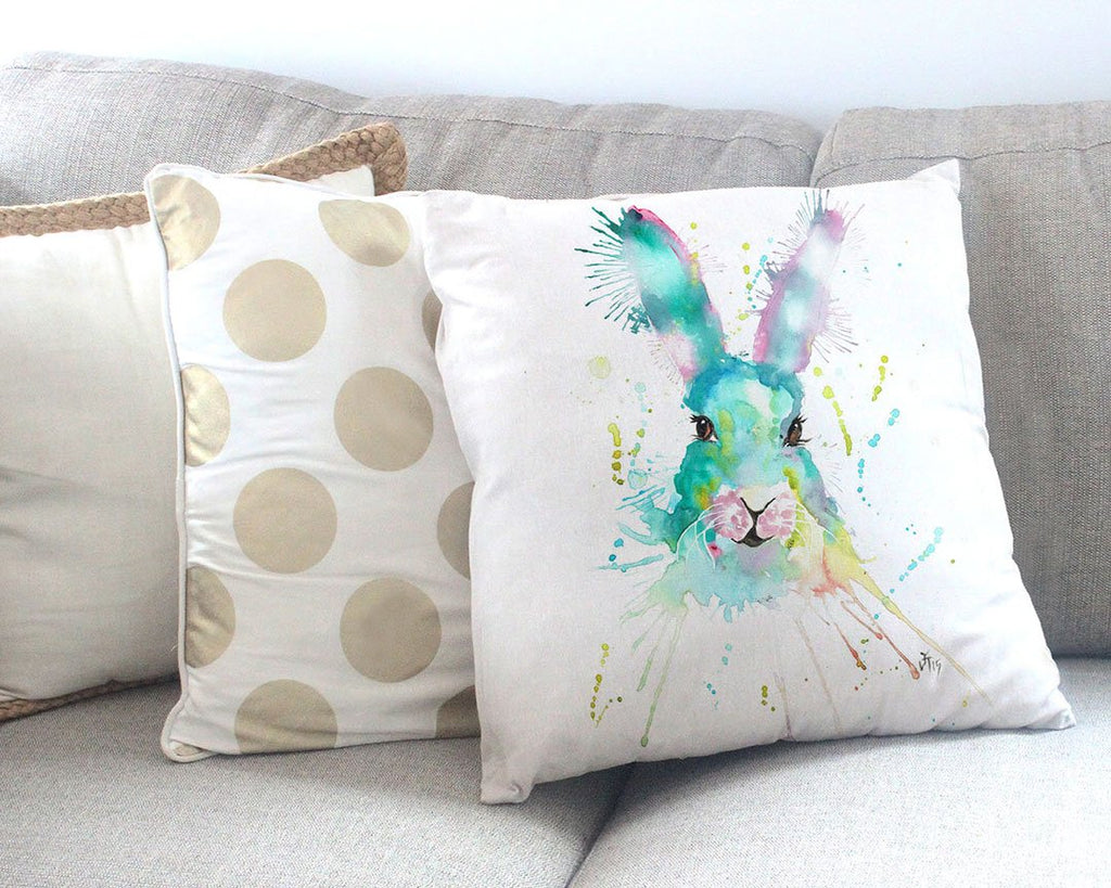 Pink & Green Hare Canvas Cushion Cover