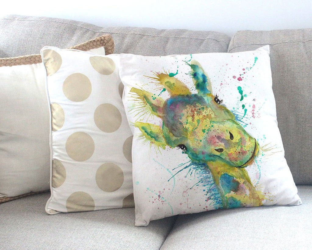 """Hattie"" Giraffe Canvas Cushion Cover"