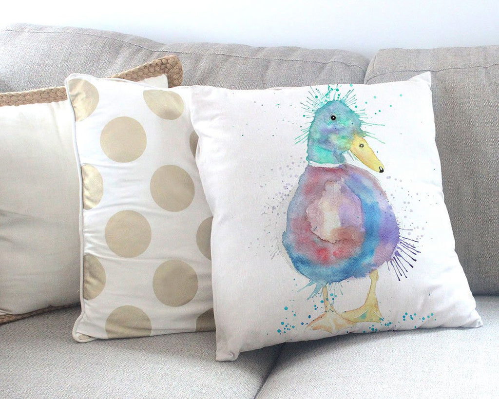 Monsieur Puddle Duck Canvas Cushion Cover