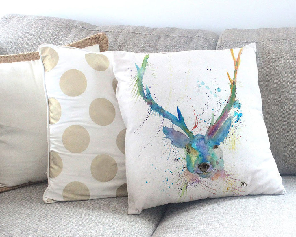 """Bruce"" Stag Canvas Cushion Cover"