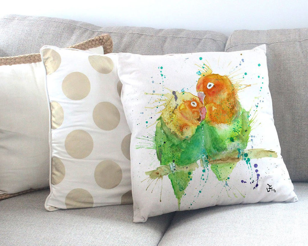 Love Birds Canvas Cushion Cover