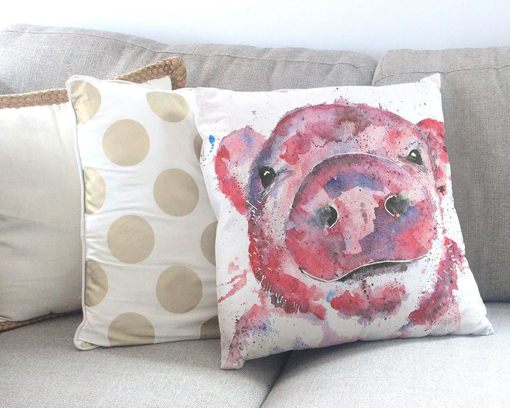 """Priscilla"" Pig Canvas Cushion Cover"