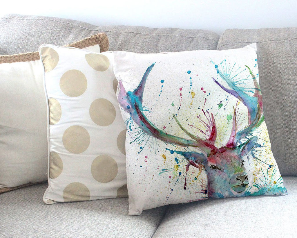 """Proud"" Stag Canvas Cushion Cover"