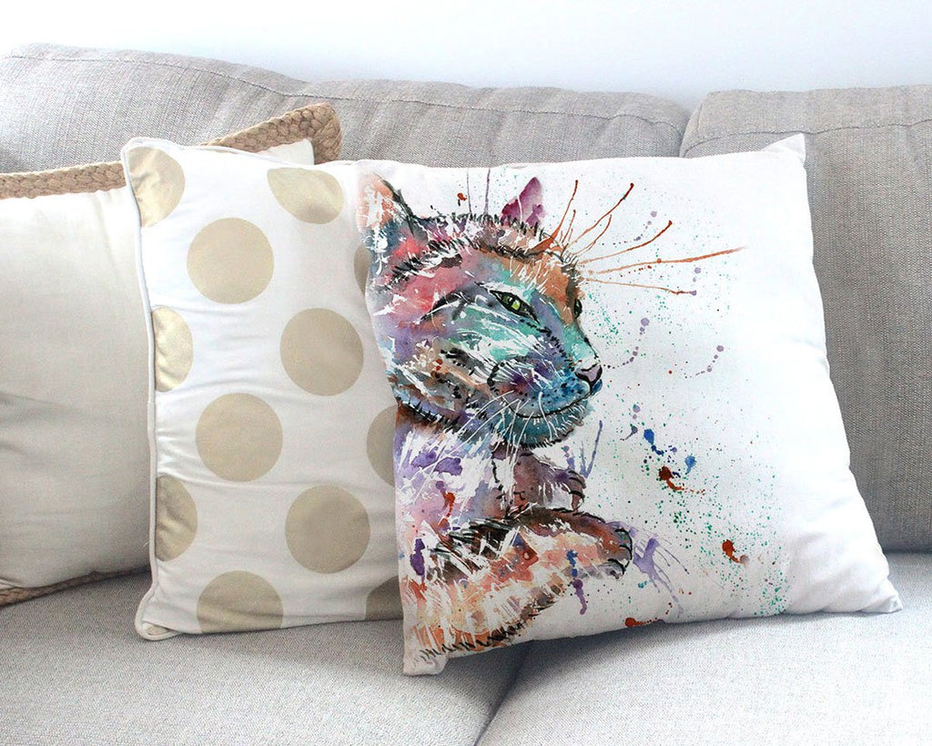 """Dave"" Cat Canvas Cushion Cover"
