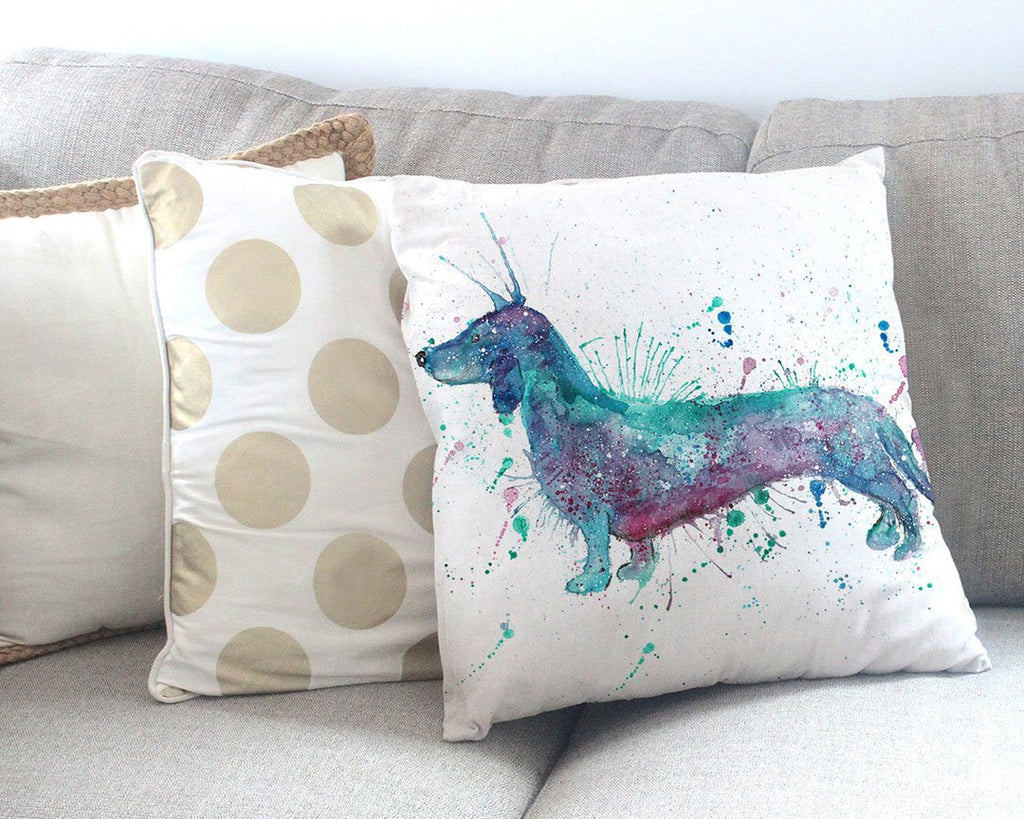 Mr Sausage Dog Canvas Cushion Cover