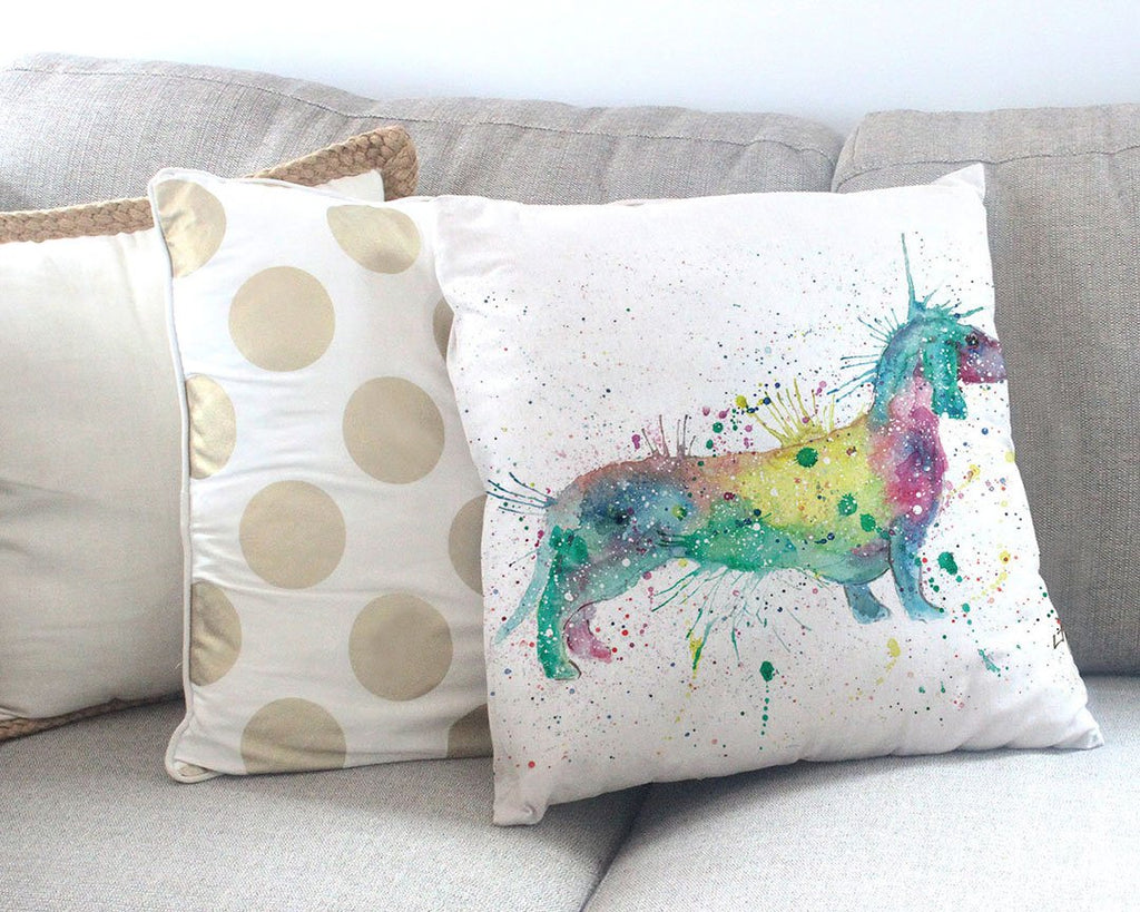 Mrs Sausage Dog Canvas Cushion Cover