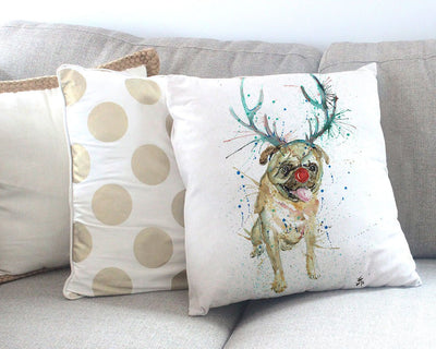 Christmas Pug Canvas Cushion Cover
