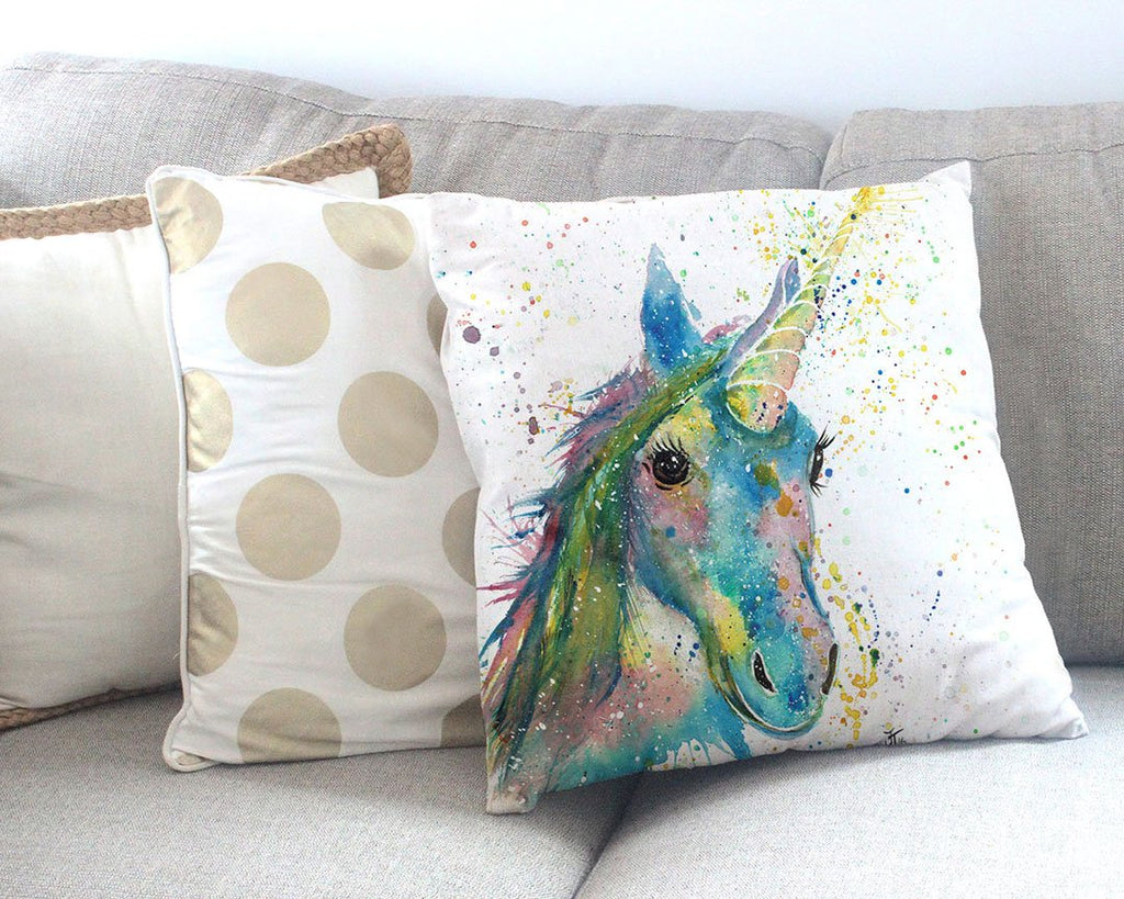 """Patty"" Unicorn Canvas Cushion Cover"