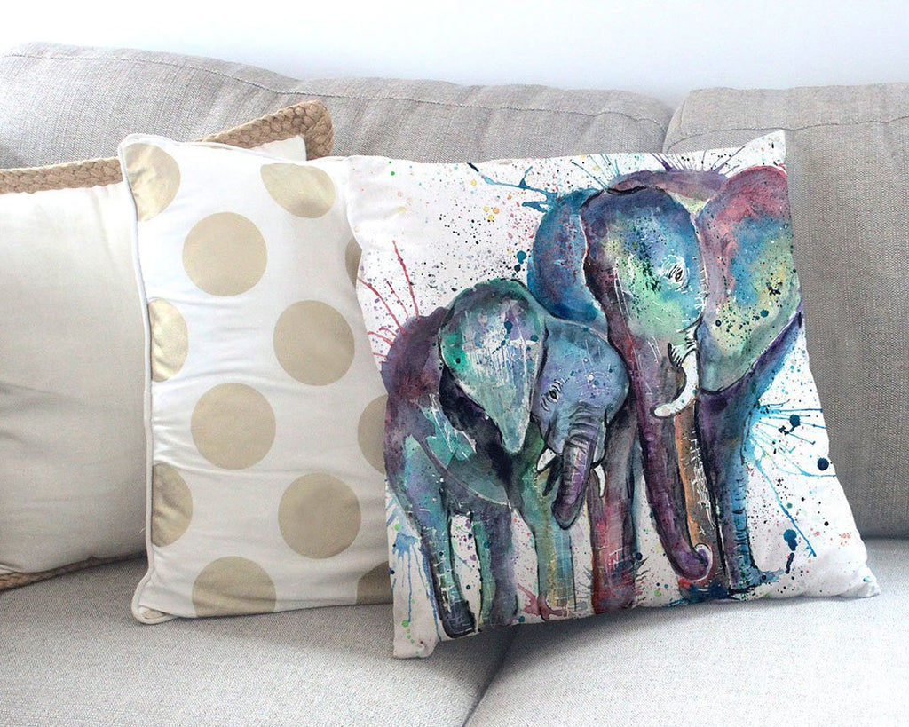 """Us"" Mummy & Babby Elephant Canvas Cushion Cover"