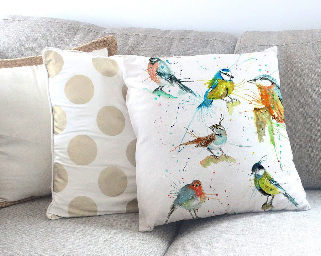 Brit Birds Canvas Cushion Cover