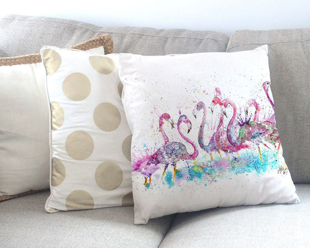 """Flamboyance"" Flamingos Canvas Cushion Cover"