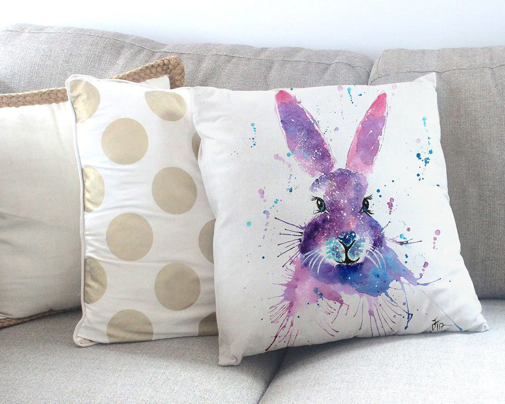 """Berry"" Hare Canvas Cushion Cover"