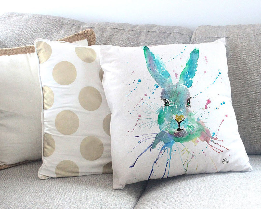 """Minty"" Hare Canvas Cushion Cover"