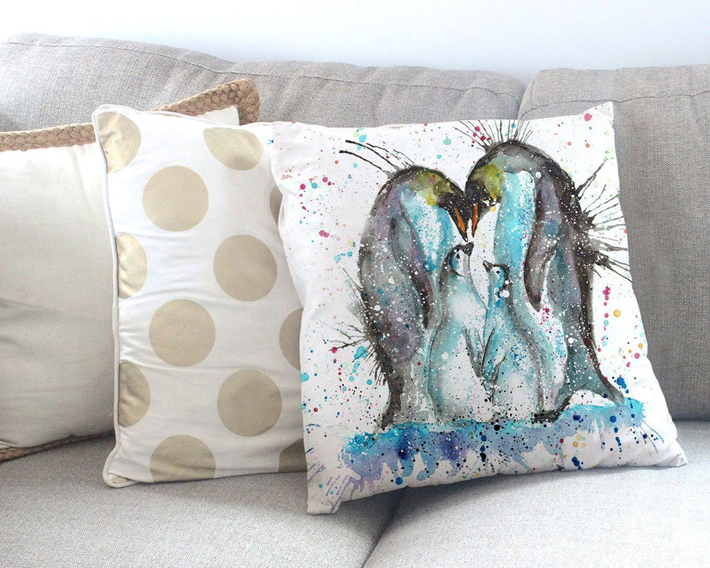"""Home"" Penguins Canvas Cushion Cover"
