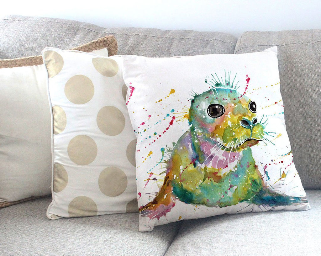 """Toby"" Seal Canvas Cushion Cover"