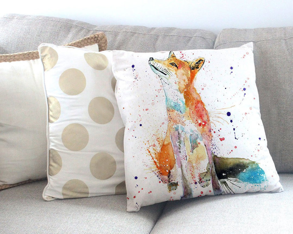 """Wishes"" Fox Canvas Cushion Cover"
