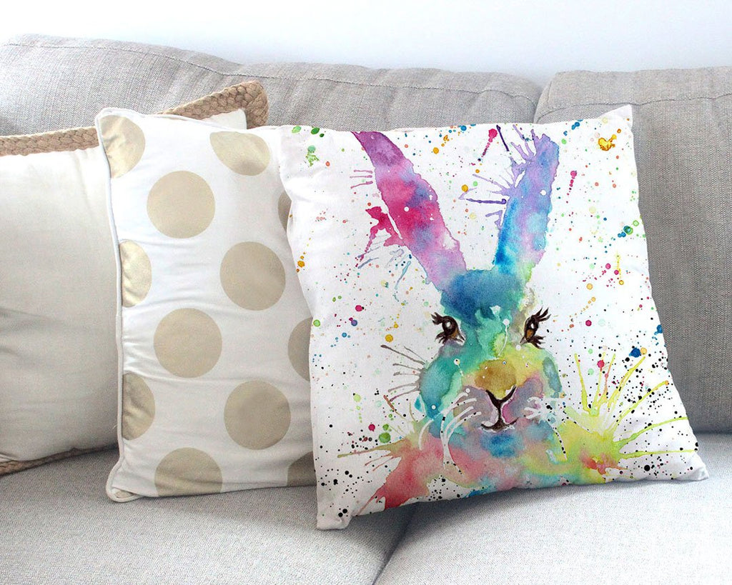 Summer Hare Canvas Cushion Cover