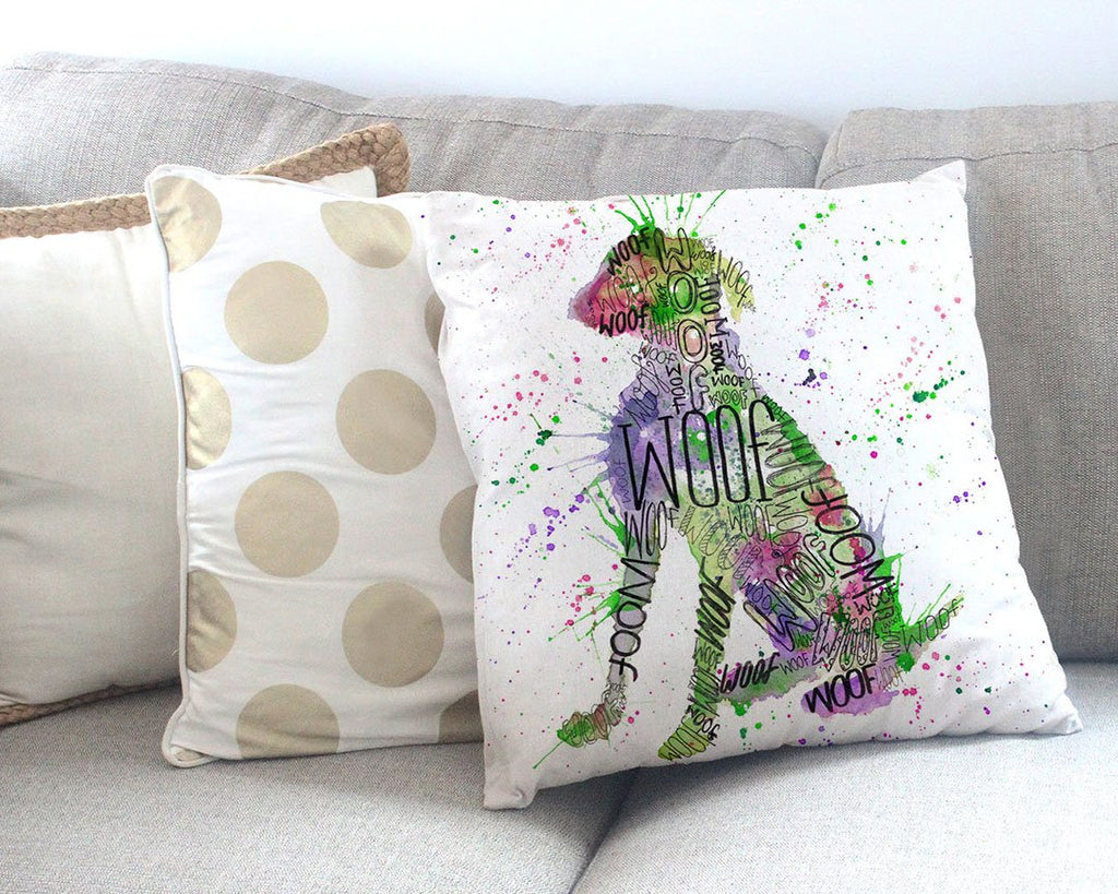 """Woof"" Green Canvas Cushion Cover"