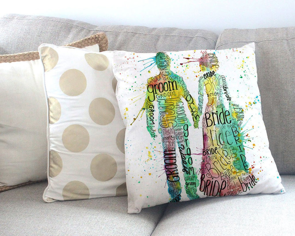 Bride & Groom Canvas Cushion Cover