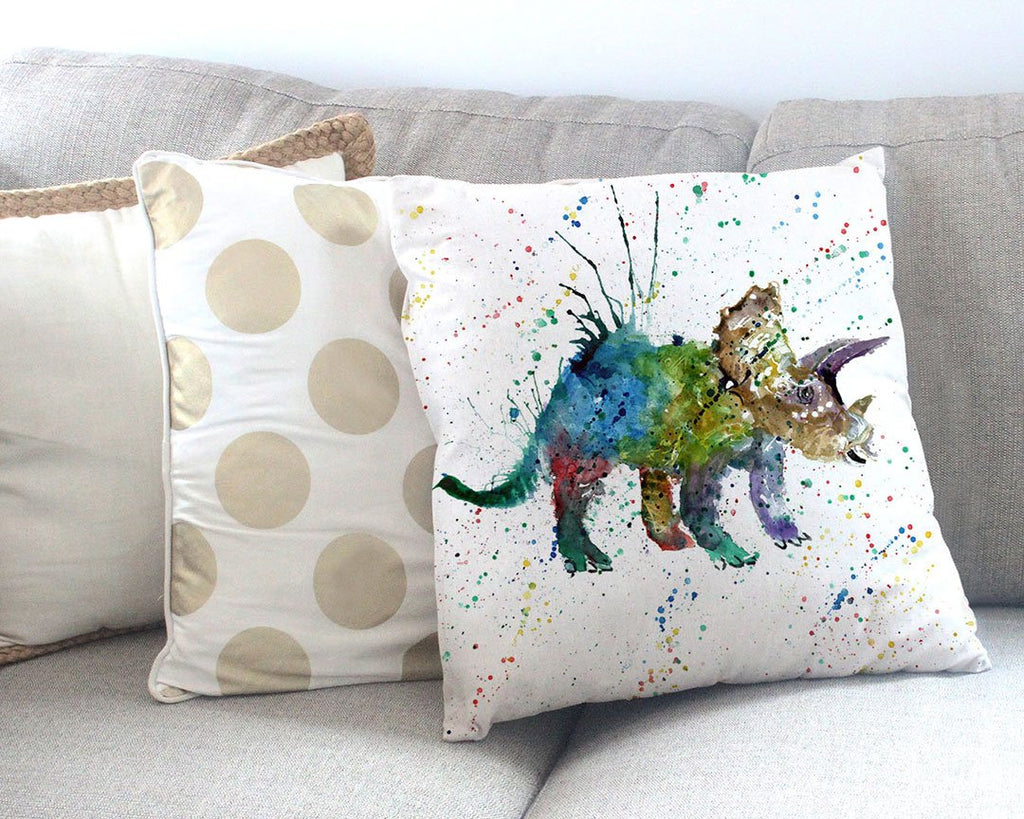 """Steve"" Triceratops Canvas Cushion Cover"