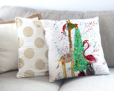 Christmas Pals Canvas Cushion Cover
