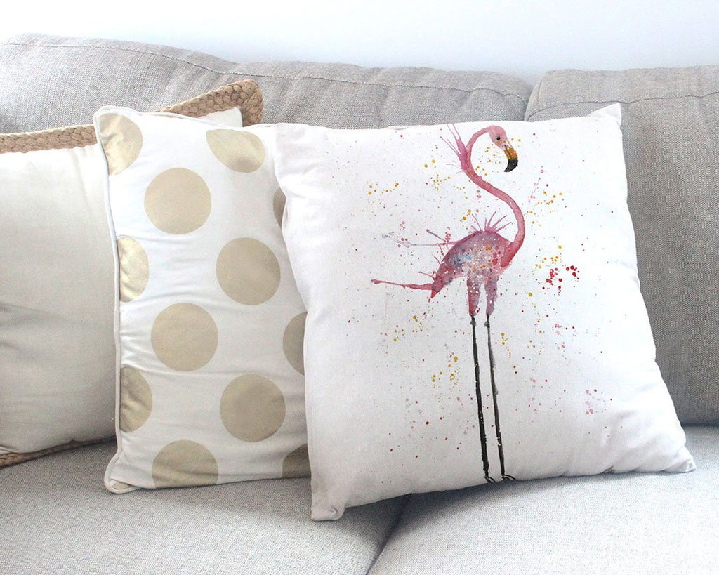 """Sheila"" Flamingo Canvas Cushion Cover"