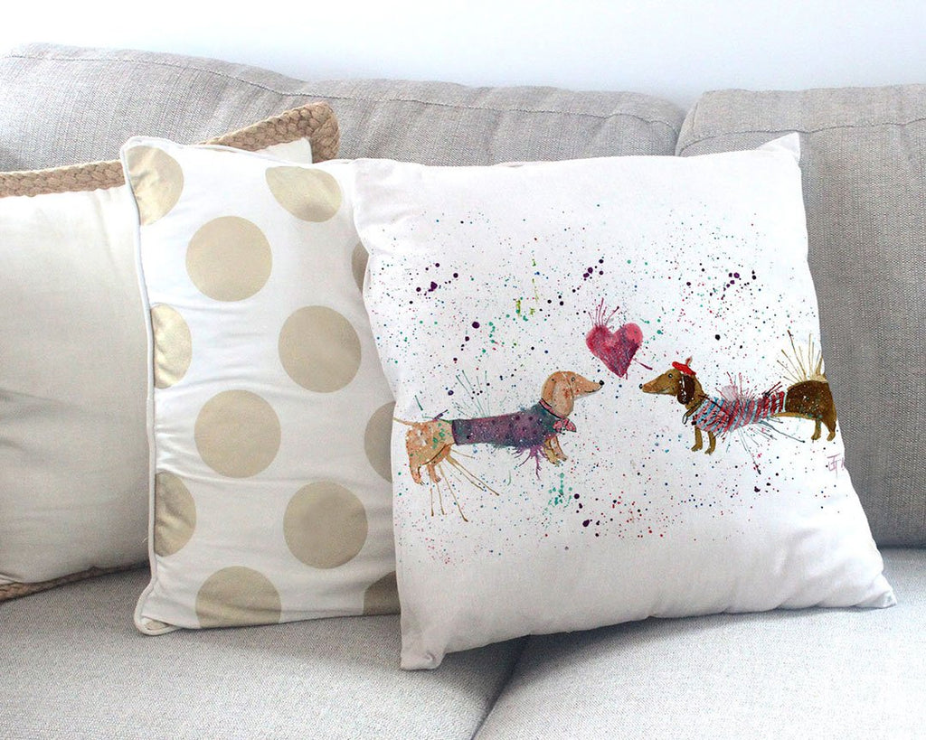 Sausage Dogs in Love Canvas Cushion Cover