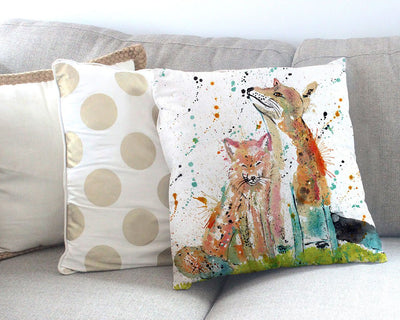 """Always Us"" Foxes Canvas Cushion Cover"