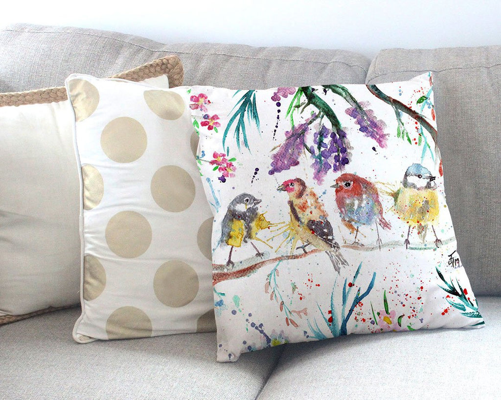 """Tree Friends"" Birds Canvas Cushion Cover"