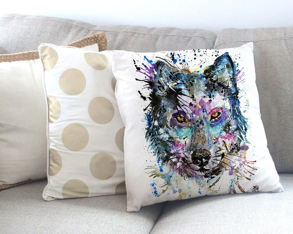 """Howl"" Wolf Canvas Cushion Cover"