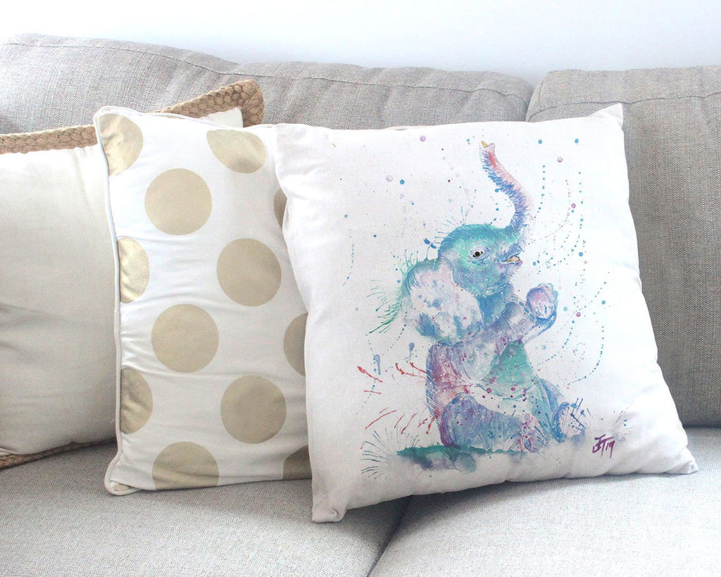 """Arthur"" Baby Elephant Canvas Cushion Cover"