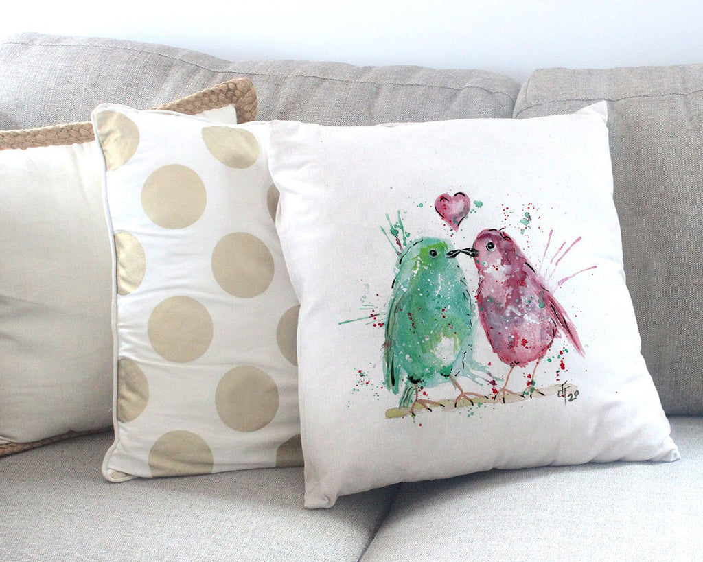 Tweet Heart Canvas Cushion Cover