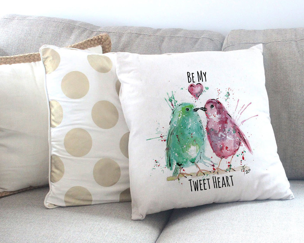 Be My Tweet Heart Canvas Cushion Cover