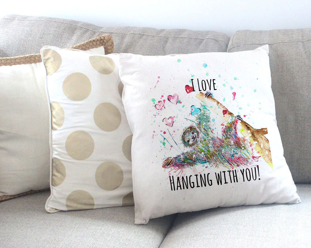 """I Love Hanging With You"" Sloth Canvas Cushion Cover"