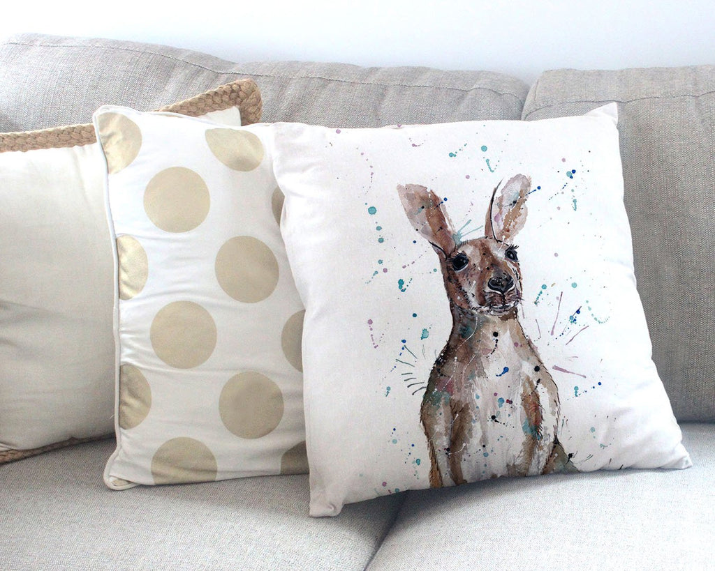 """Casey"" Kangaroo Canvas Cushion Cover"