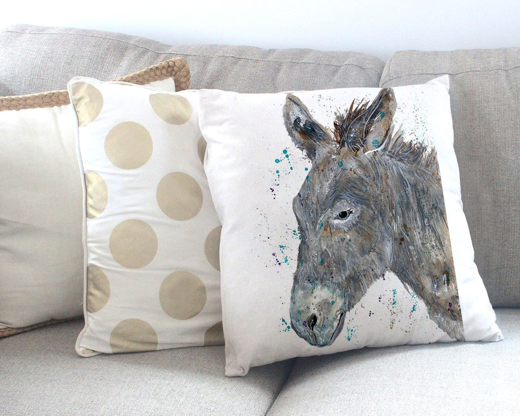 """Dennis"" Donkey Canvas Cushion Cover"