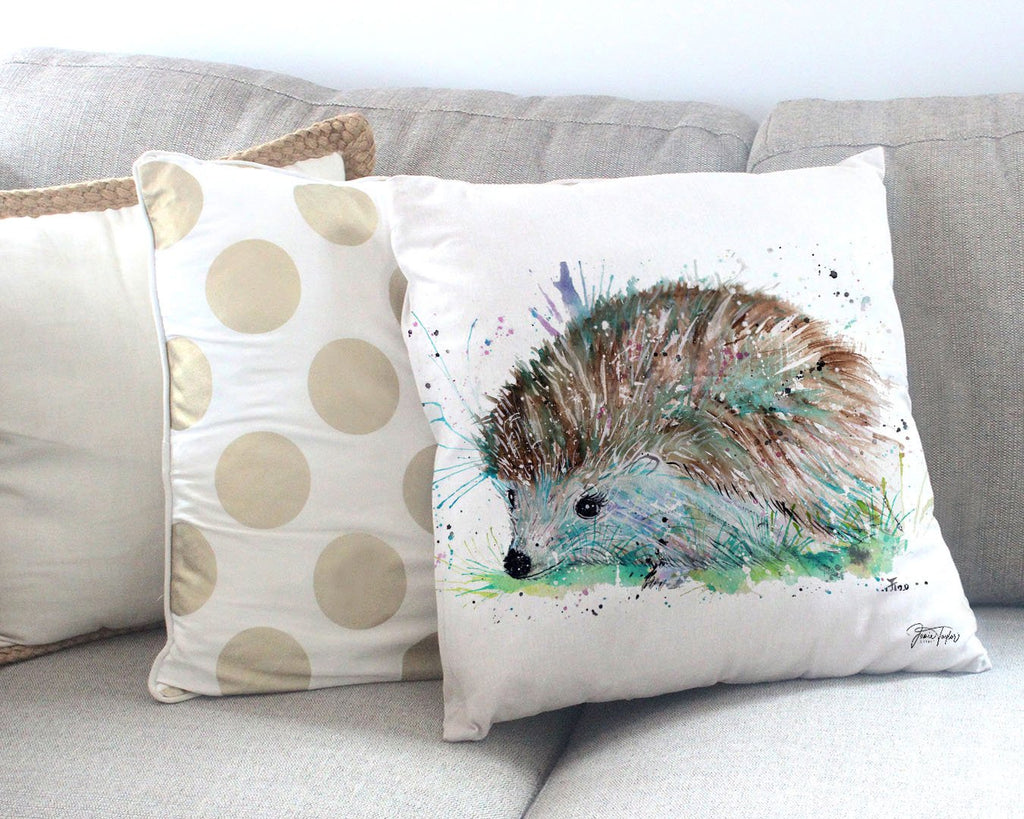 """Sweet"" Hedgehog Canvas Cushion Cover"
