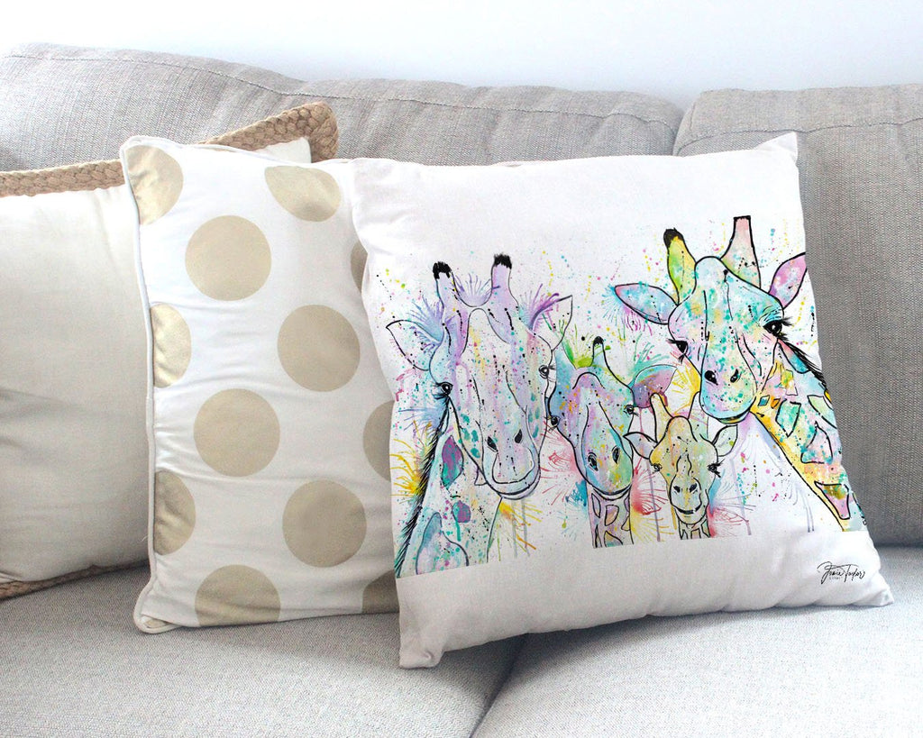 Hello! Giraffes Canvas Cushion Cover