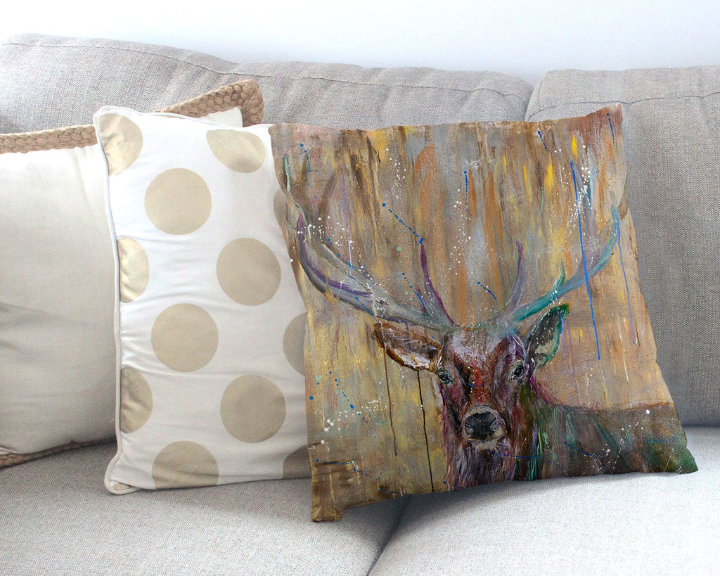 """Illustrious"" Stag Canvas Cushion Cover"