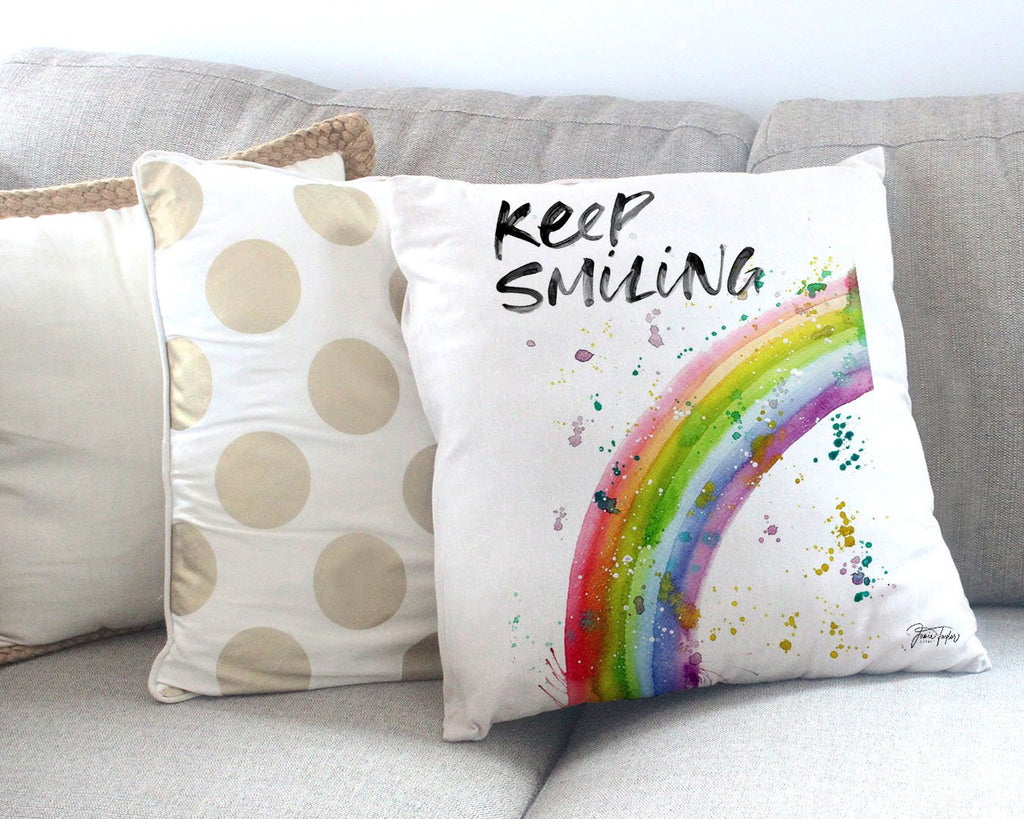 """Keep Smiling"" Rainbow Canvas Cushion Cover"