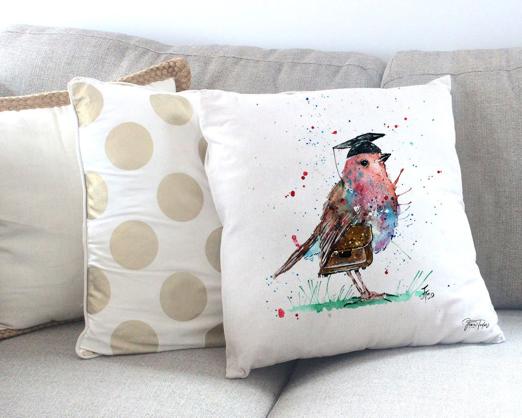 """Teach"" Robin Canvas Cushion Cover"