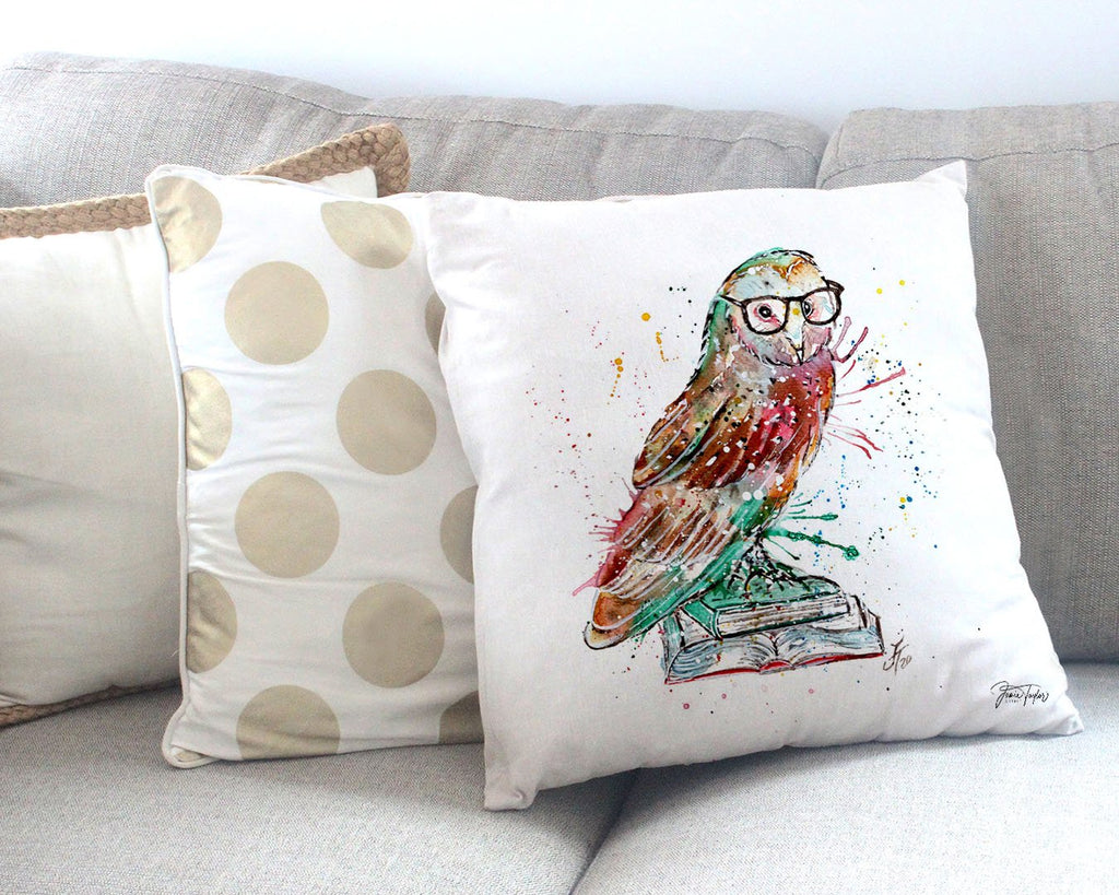"""Knowledge"" Owl Canvas Cushion Cover"