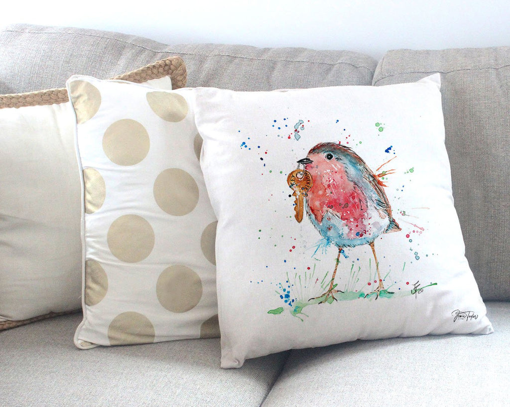 """Grateful"" Robin Canvas Cushion Cover"
