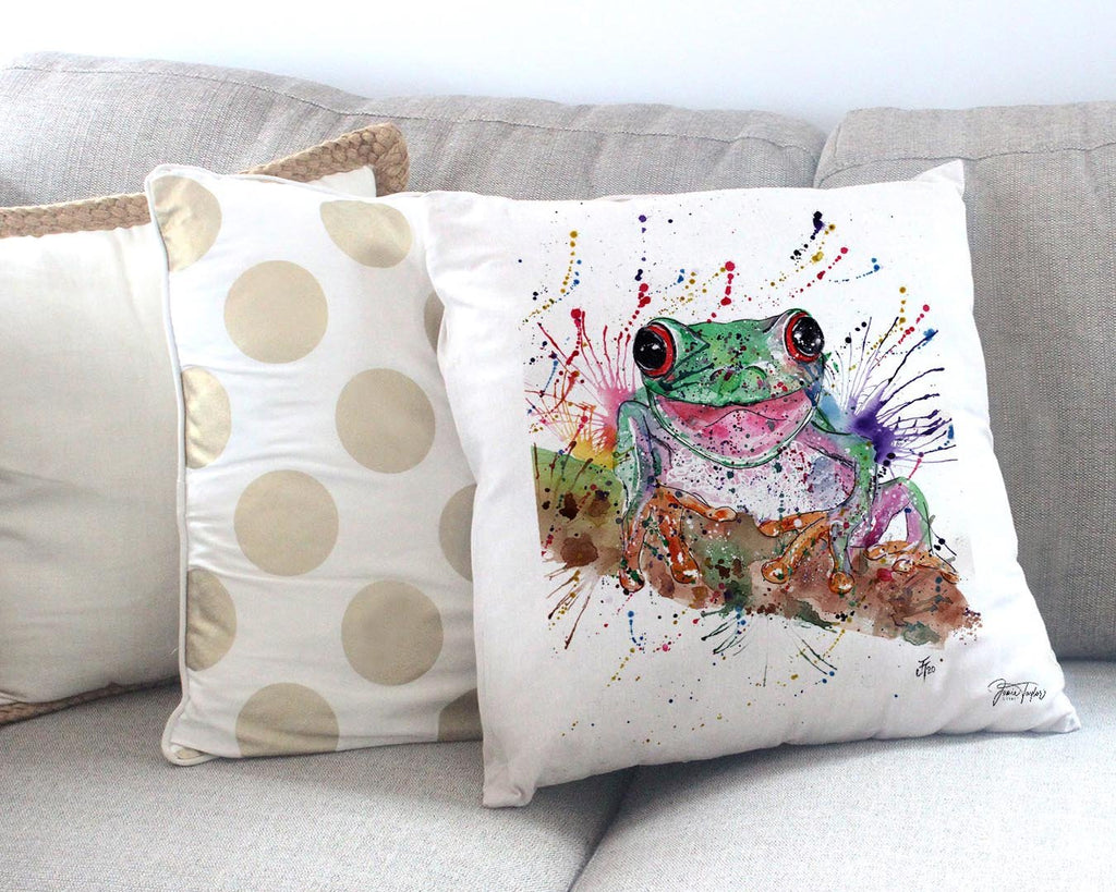 Chris the Frog Canvas Cushion Cover